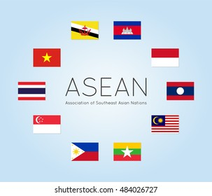 Vector illustration of ASEAN countries flags (Members of Association of Southeast Asian Nations). Clean flat style. Editable design elements for banner, website, presentation, infographic, map. Eps 10