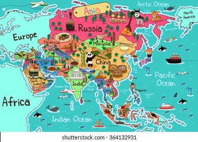A vector illustration of Asia map in cartoon style
