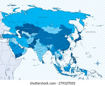 Vector illustration of Asia map with countries in blue color. Each country has its capital and major cities. Global colors used. Asia, background, borders and city names are on separate layers.