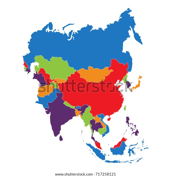 Vector Illustration Asia Outline Map Isolated Stock ...