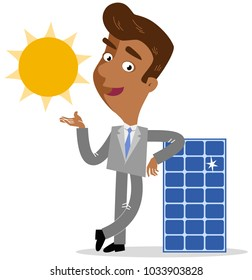 Vector illustration of an asian cartoon businessman leaning on solar panel with sun isolated on white background
