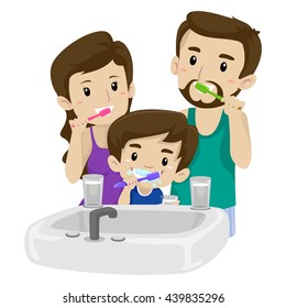 Vector Illustration of Asian Family Brushing their Teeth