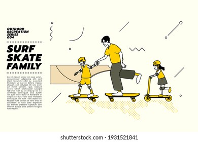 Vector illustration of Asian family, father and kids go surfing with skateboard or surf skate and kick scooter at ramp track or skate park on modern style abstract with composition background.