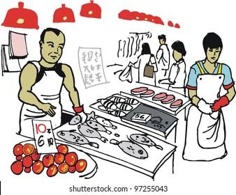 Vector illustration of Asian man at fish market, Hong Kong