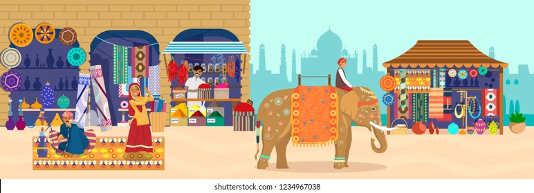 Vector illustration of Asian market with different stores and people. Elephant rider, Taj Mahal silhouette souvenir shop, pottery, carpets, fabrics, spices, dancing woman, man smoking hookah.