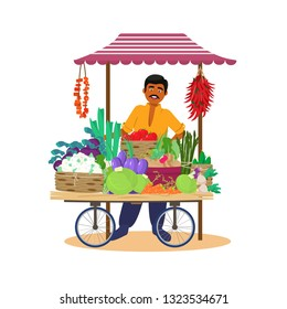 Vector illustration of Asian merchant selling vegetables from cart in flat cartoon style.