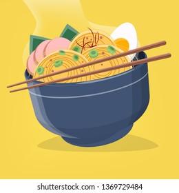 vector illustration of asian ramen noodles