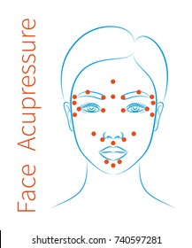 Vector illustration: asian woman face with instructions for facial acupressure isolated on white background