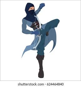 Vector illustration. Assasin warrior with bow.