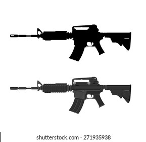 A vector illustration of an assault rifle. Assault rifle illustration Icon. Automatic fire rifle with silhouette included.
