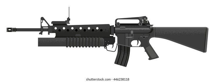 A vector illustration of an assault rifle. Assault rifle illustration Icon. Automatic fire rifle with silhouette included