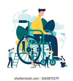 vector illustration, assistance to a disabled person, a person in a wheelchair helping him other people, social workers, medical help, rehabilitation