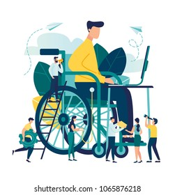 vector illustration, assistance to a disabled person, a man in a wheelchair working at a computer, online work, he is helped by other people, social workers, medical help, rehabilitation