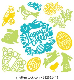 A vector illustration of assorted easter theme vintage paper cut designs like easter rabbit, easter egg, flowers and more nature filigree.