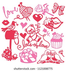 A vector illustration of assorted paper cut silhouette cute sweet love inspired set like teddy bears, love birds and romantic gifts.