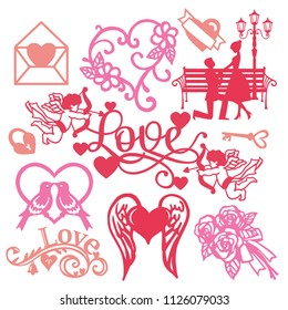 A vector illustration of assorted paper cut silhouette vintage romance set like couple in love, cupids and flowers gifts.