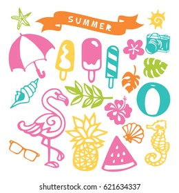 A vector illustration of assorted paper cut silhouette summer party design element set like tropical fruits, flamingo, beach umbrella and camera;