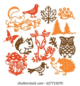 A vector illustration of assorted paper cut silhouette vintage forest animals set. Included in this image are deer, birds, owl, mushroom and other woodland creatures.
