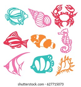 A vector illustration of assorted paper cut silhouette underwater animals set like reef fishes, seashell and crab.