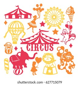 A vector illustration of assorted paper cut silhouette vintage circus set. Included in this image are circus tent, circus animals, people and ice cream.