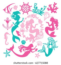 A vector illustration of assorted paper cut silhouette vintage mermaid nautical set like mermaids, underwater animals, seashell and coral.