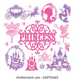 A vector illustration of assorted vintage paper cut princess theme set. Princess design elements included are princesses, mermaid, carriages, castles and fairies.
