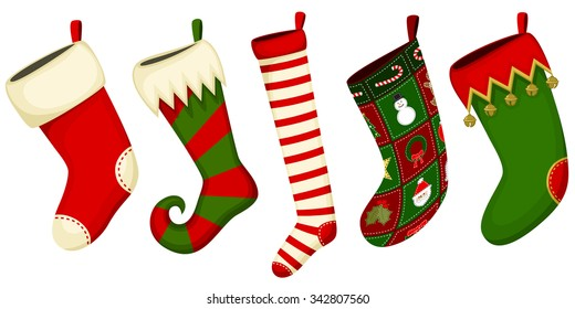 Vector illustration of an assortment of five Christmas stockings.