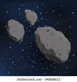 vector illustration of an asteroid and meteorite. Falling Meteorite with asteroid icon illustration