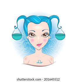 Vector Illustration of astrological sign of Libra. Beautiful fantasy girl.