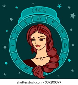 vector illustration of astrological zodiac sign as a girl - cancer