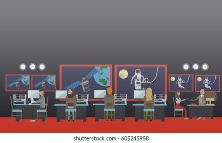 Vector illustration of astronaut in outer space, planet Earth and satellite, mission control center personnel monitoring spaceflight. Space exploration concept design element in flat style.