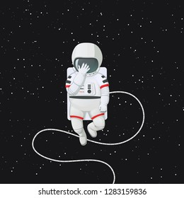 Vector illustration. Astronaut in space with hand touching helmet, expressing shame or sadness. Facepalm. Dark space with stars in a background.