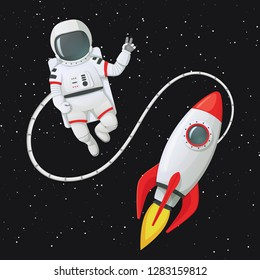 Vector illustration. Astronaut in space tethered to the rocket ship making peace or v sign, gesture. Dark space with stars in a background.