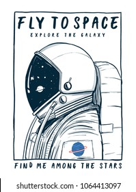 Vector illustration of astronaut in space, for t-shirt prints and other uses.