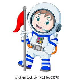 vector illustration of Astronaut in white spacesuit on white background