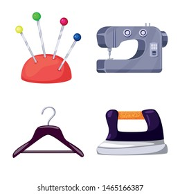 Vector illustration of atelier and sewing symbol. Set of atelier and tailoring stock vector illustration.