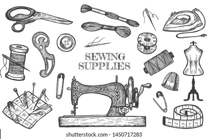 Vector illustration of atelier tailor sewing supplies. Threads and needles, measuring tape, professional scissors, pin cushion, button, pin, spool, machine, mannequin, pattern, blueprint, iron.