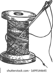 Vector illustration of atelier tailor sewing supplies. Spool of thread with needle in a vintage hand drawn engraving style.