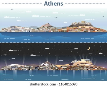 vector illustration of Athens city skyline at day and night