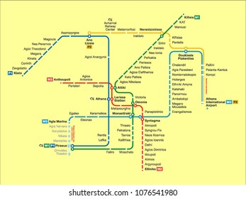 Vector illustration of the Athens Subway Map