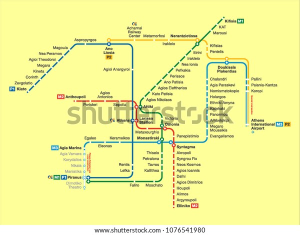 Athens Subway Map.Vector Illustration Athens Subway Map Stock Vector Royalty Free