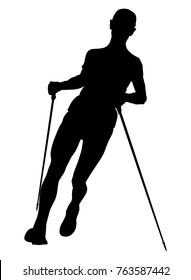 vector illustration athlete man skyrunner with trekking sticks running