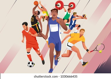 A vector illustration of Athletes in Different Sports Poster