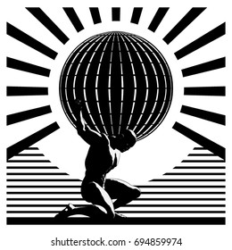 A vector illustration of Atlas holding up  the globe in an art-deco style.