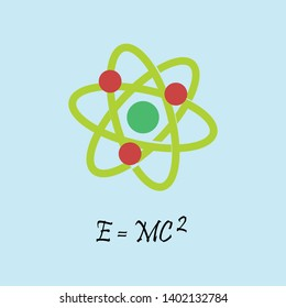 Vector illustration of atom drawn with formula. The famous formula E=mc2. Formula expressing the equivalence of mass and energy.