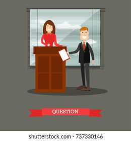 Vector illustration of attorney questioning witness female standing at tribune. Interrogation in court flat style design element.