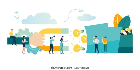 vector illustration, attracting ideas with a magnet from a big head, teamwork, brainstorming