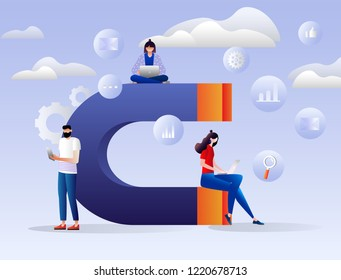 Vector illustration of attracting online customers. Big magnet and people with laptop around. Customer retention strategy, digital inbound marketing, customer attraction gradient banner. Characters.