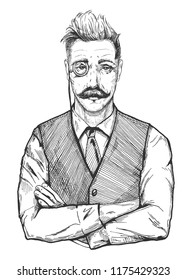 Vector illustration of attractive man in age. Mans portrait in vintage vest, tie and shirt, with a monocle, handlebar moustaches. Hand drawn old fashioned engraving drawing of an old gentleman banker,