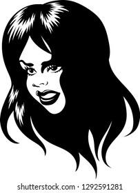Vector illustration of an attractive woman head logo for t-shirt print use.